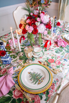 Spode Christmas Tree china on silver chargers with pink napkins and chintz tablecloth decorate this grandmillennial Christmas table