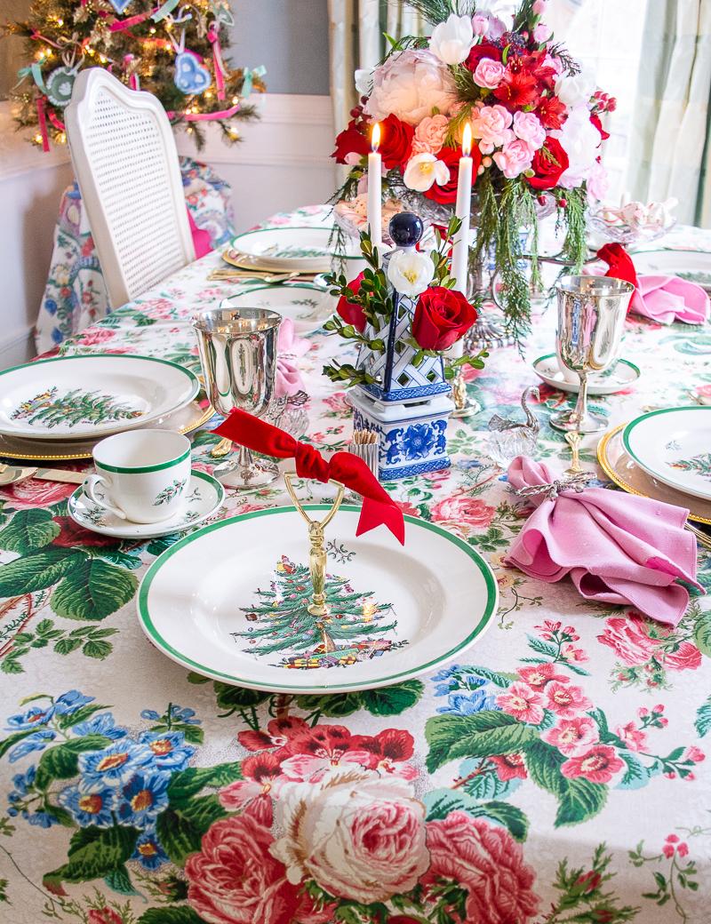 Spode Christmas tree china with cake plate