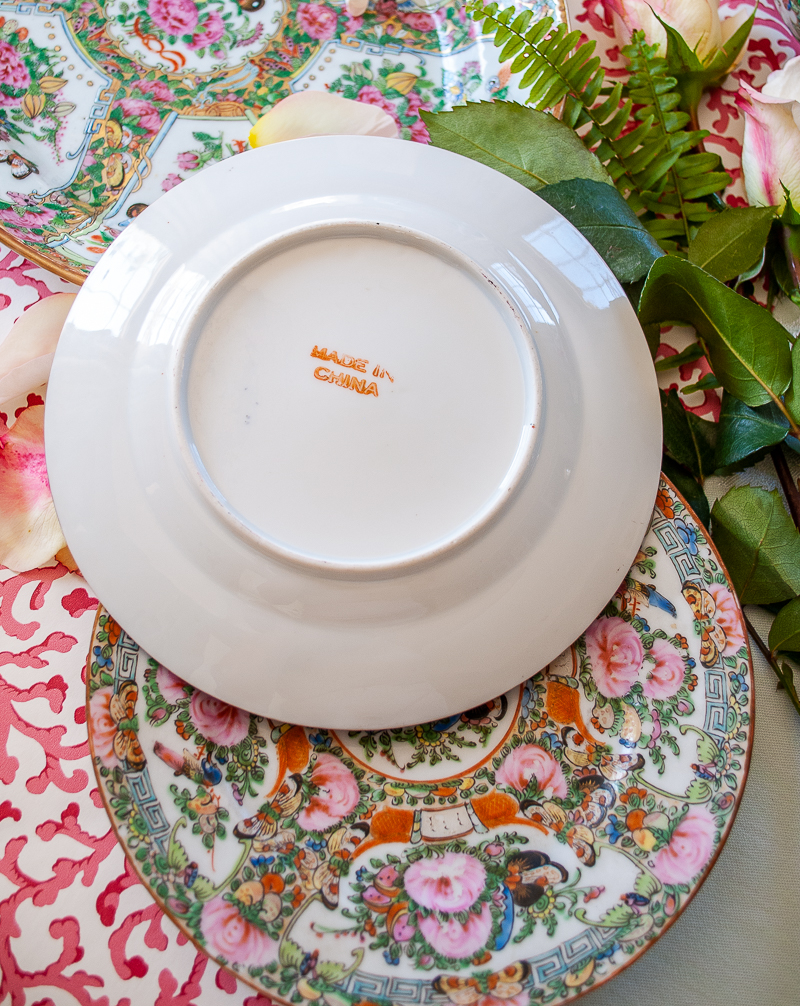 """Back view of Rose Canton plate with """"Made in China"""" mark in red"""