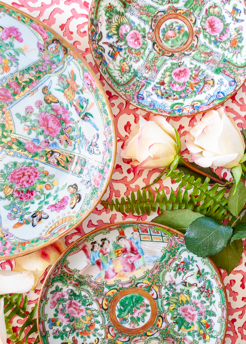 Flatlay showing Rose Medallion and Rose Canton patterns next to each other