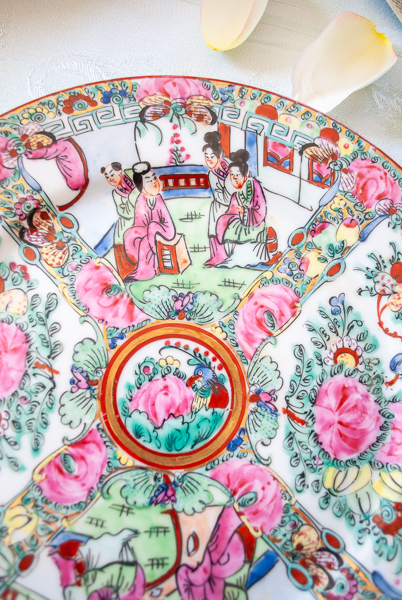 Detail of mid to late 20th century Rose Medallion plate