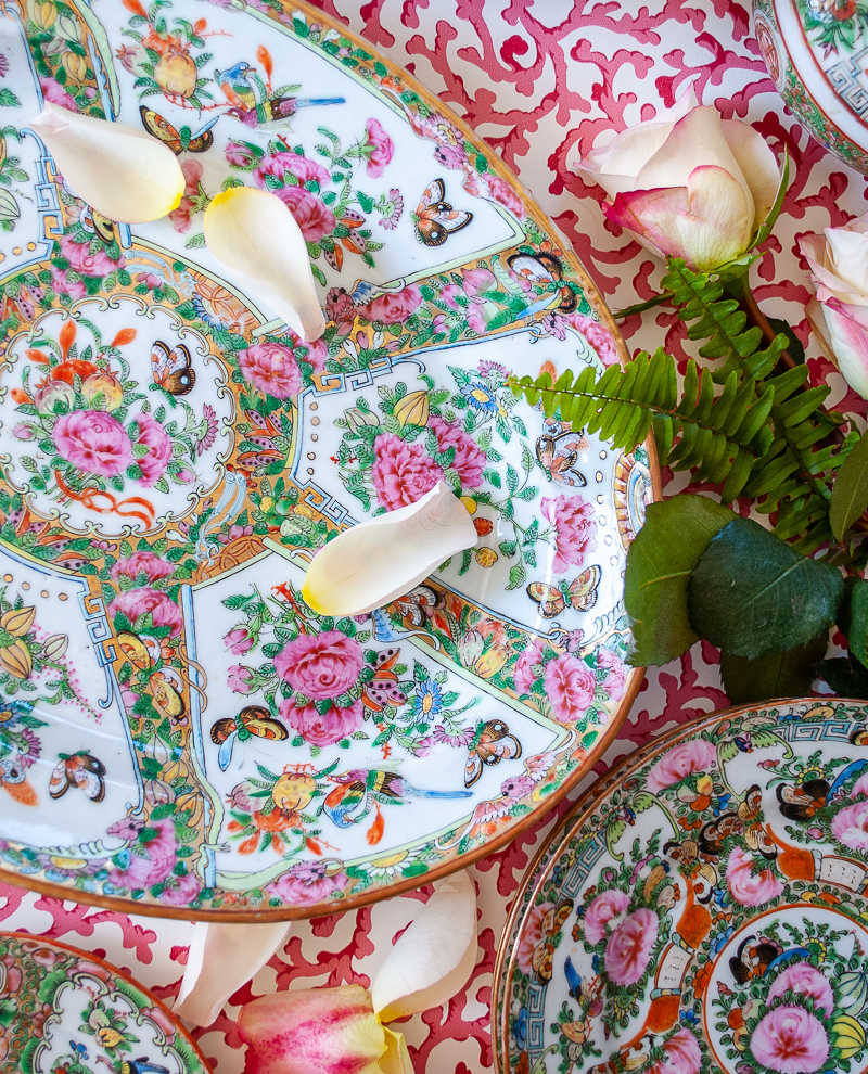 Rose Canton platter with 6 reserves featuring butterflies, peonies, birds, and bats - a key pattern to learning Rose Medallion 101