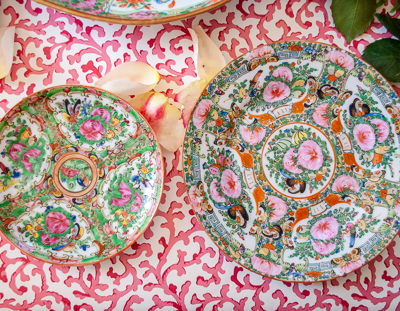 Two small plates showing variations in Rose Canton porcelains