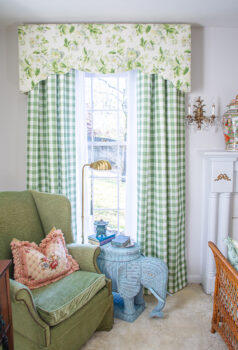 Waverly chintz cornice boards and gingham curtains were my decorating solution to large windows