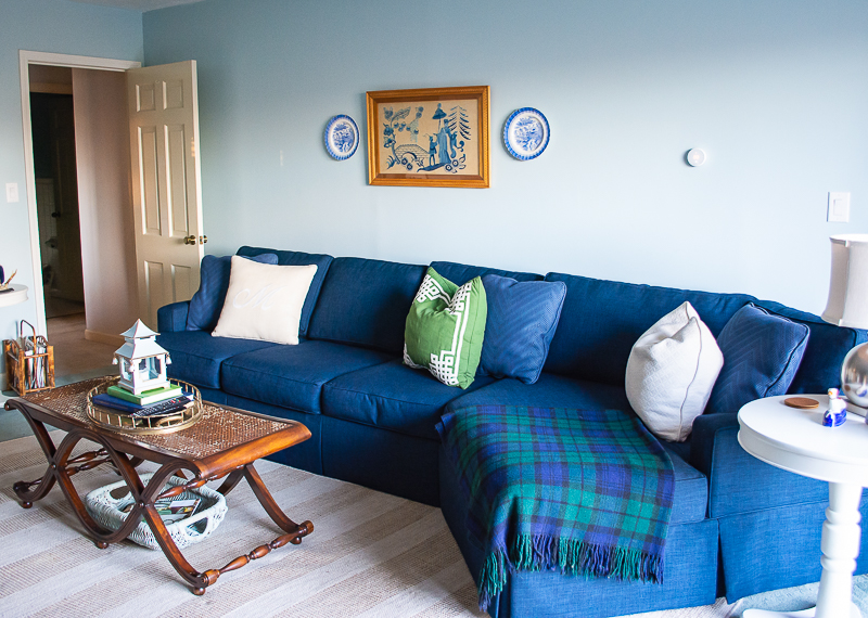 Navy sectional in Katherine's family room - decorating solution to narrow room