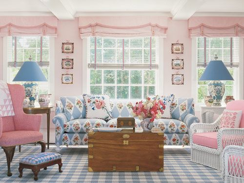 Pink and blue living room with florals and stripes