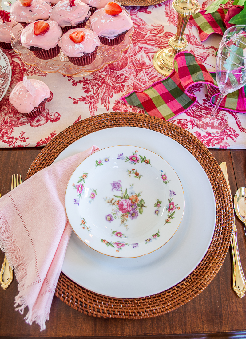 Dresdenia china adds to the romantic vibes on my love & toile tablescape for Valentine's Day