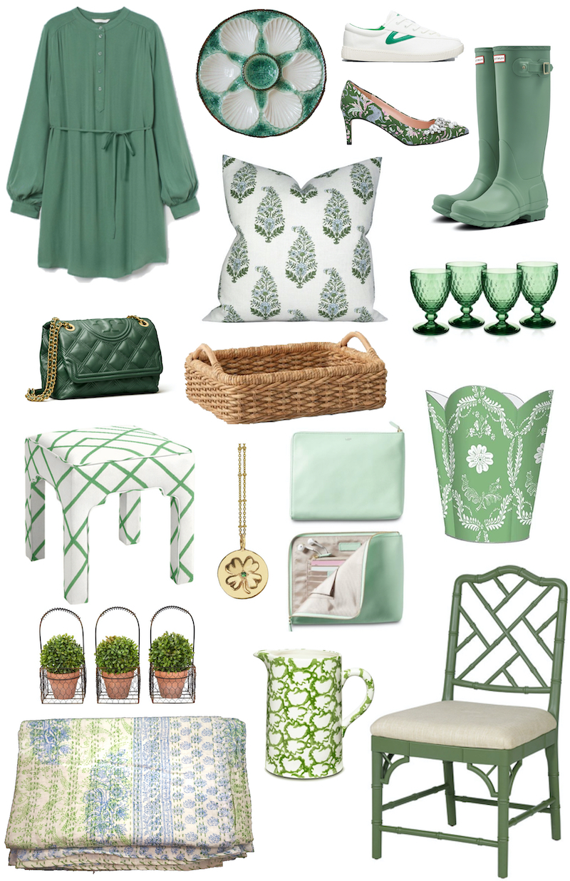 Green finds for your wardrobe, home, and tabletop! Collage of shopping guide picks.