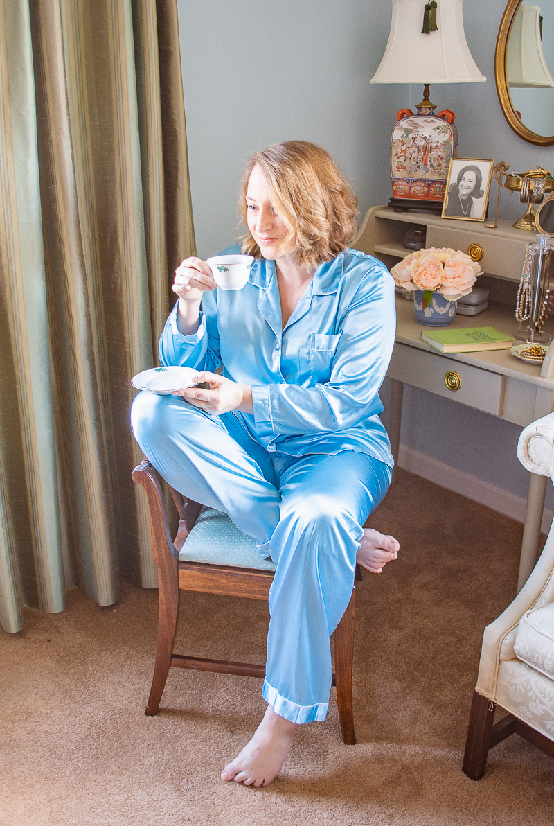Katherine enjoying coffee at home in pretty loungewear of matching PJ set - aqua satin