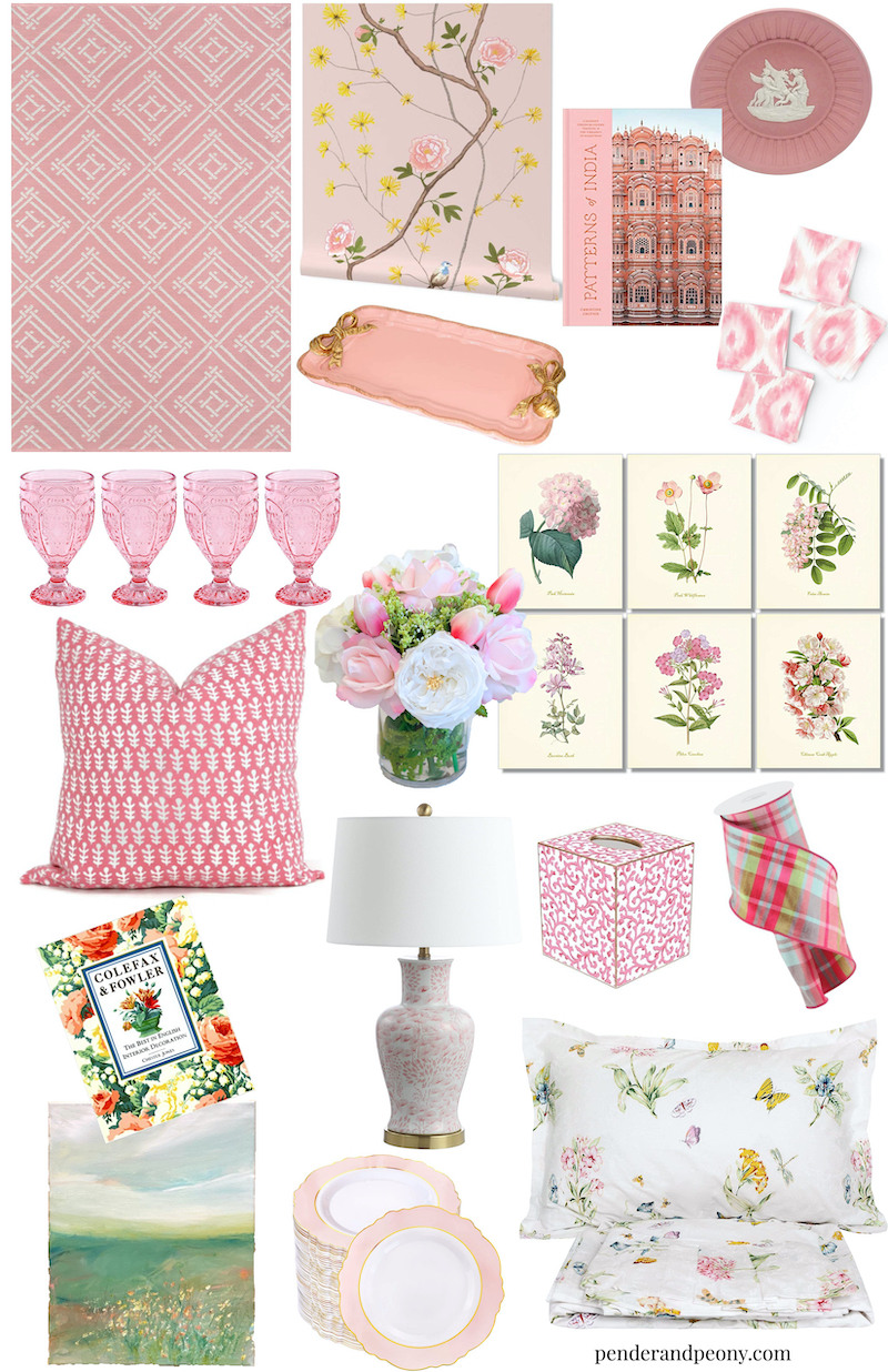 collage of perfectly pink finds on Amazon & Etsy