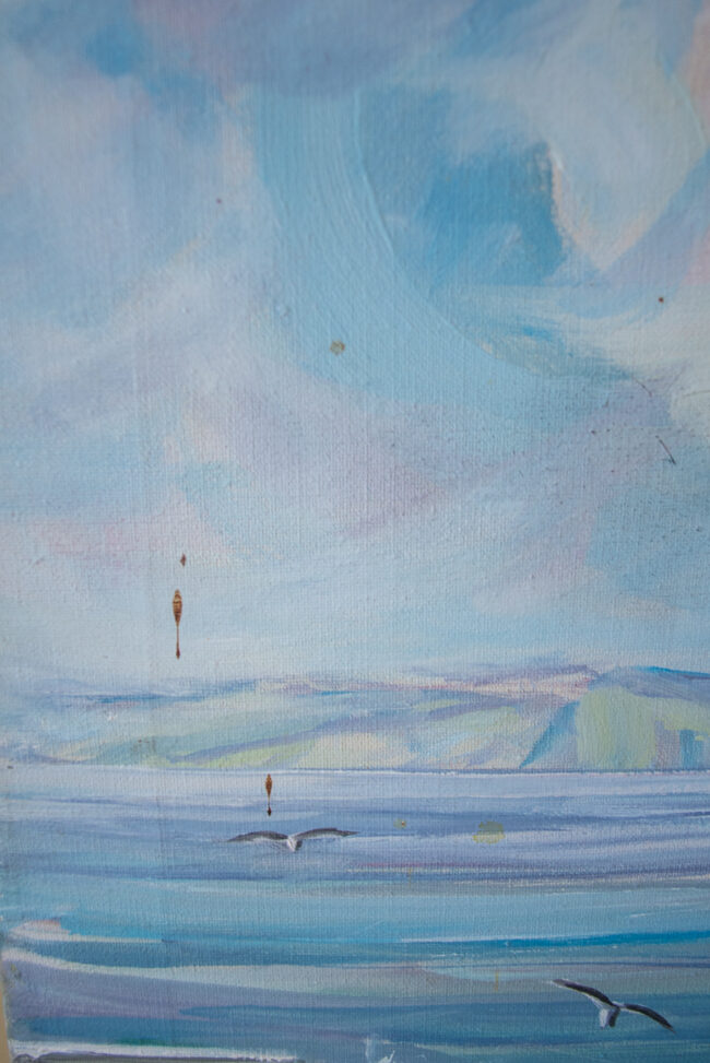 Drip staining on seascape painting