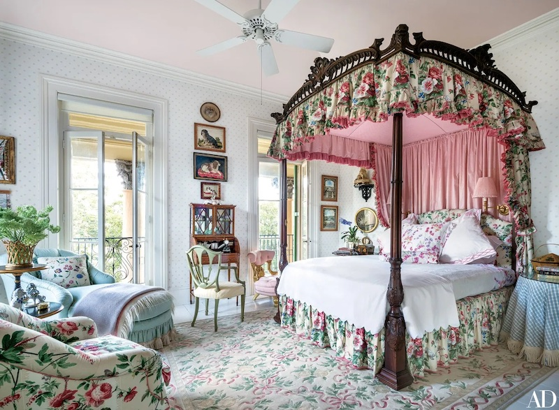 Bedroom layered with pattern designed by Mario Buatta