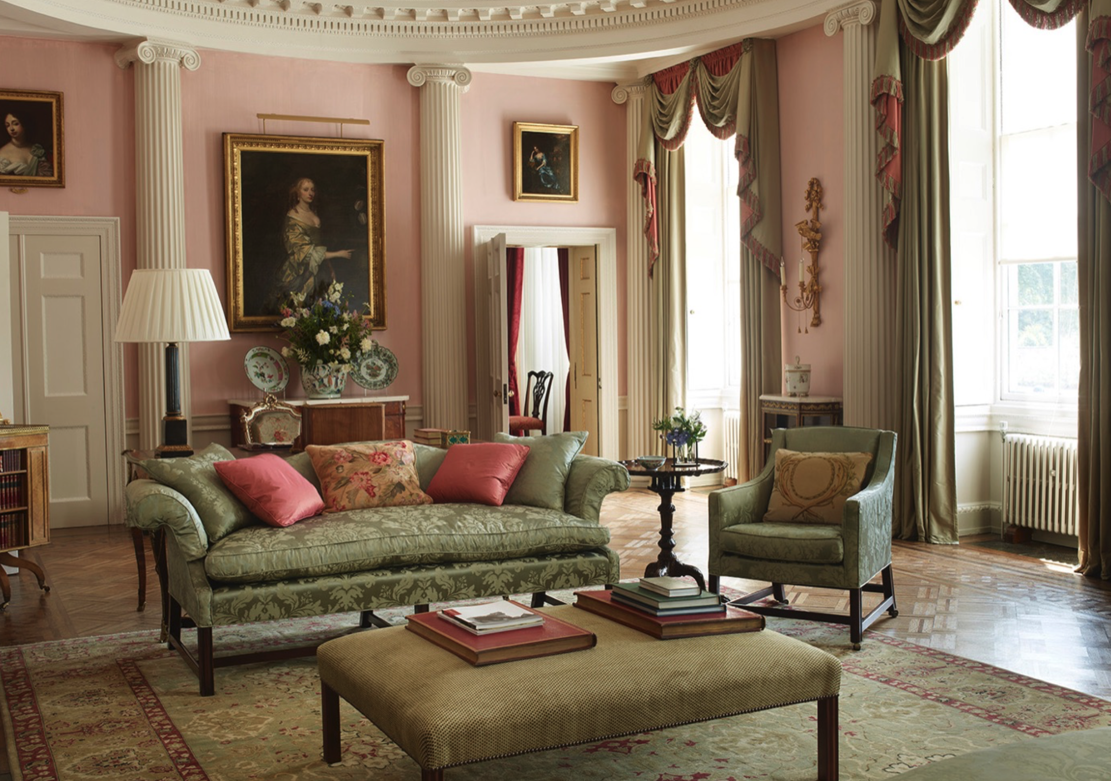 Staffordshire House Living space in pink and green designed by Colefax & Fowler
