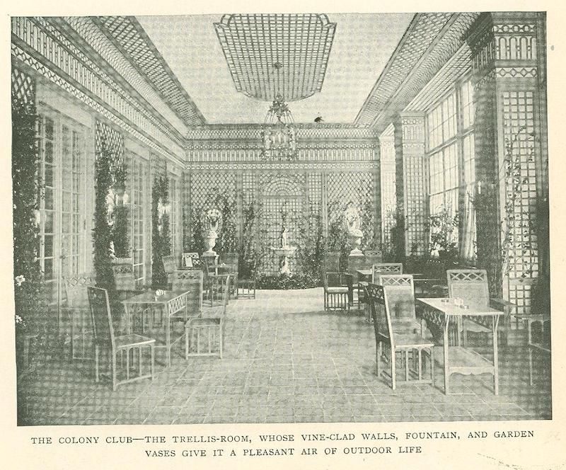 Black and white photo of the trellis room at the Colony Club designed by de Wolfe