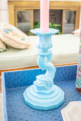 Aqua opaline dolphin candlestick