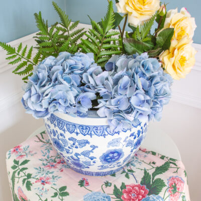Blue and White Ceramic Floral Planter