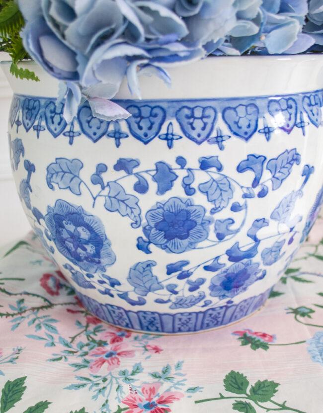 Blue and White Ceramic Floral Planter