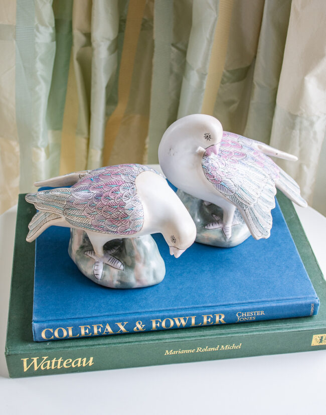 Pair of gray doves - Chinoiserie