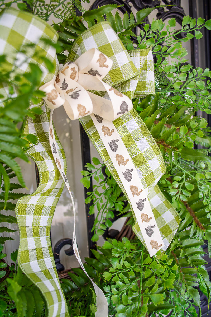 gingham bow and bunny ribbon on fern wreath