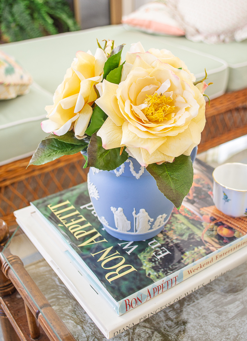 Yellow roses in Wedgwood Jasperware pitcher - a lovely staple of coffee table styling