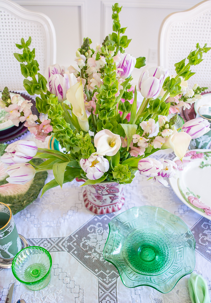 Spring bouquet of calla lilies, tulips, snap dragons, and bells of Ireland