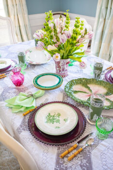 Wedgwood Patrician Robert soup bowls on a purple glass charger make an elegant look for springtime tables