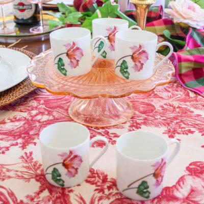 Chastagner Limoges demitasse cups with tulip design