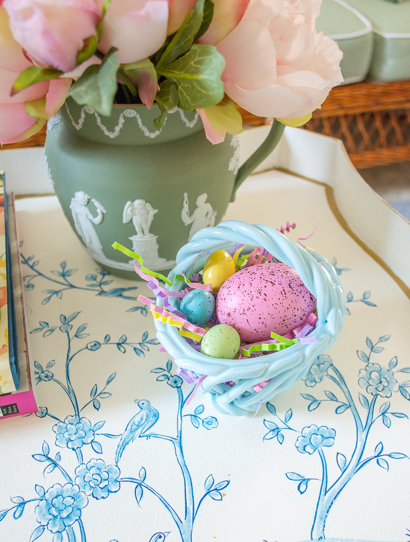 mini ceramic Easter egg baskets make a fun pop for a little spring touch
