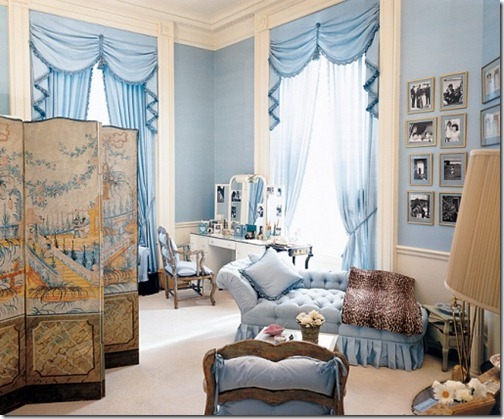 Mrs. Kennedy's dressing room at the White House, designed by Sister Parish