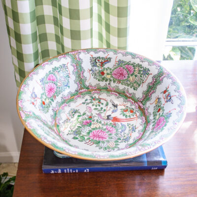 MID-Century Rose Canton Centerpiece Bowl