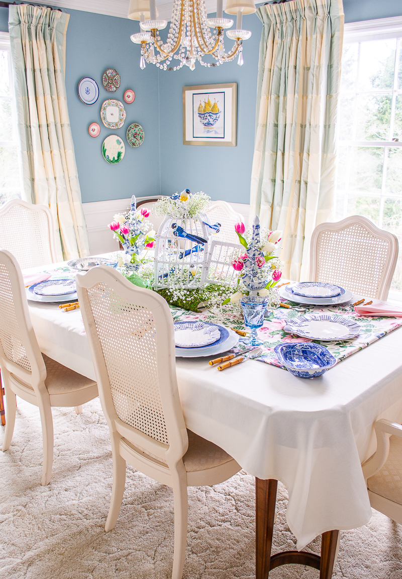 Katherine's aqua grandmillennial dining room styled for spring with a songbird and tulipiere centerpiece