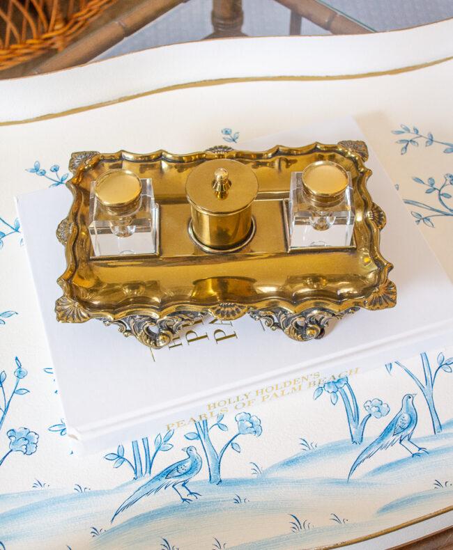 Vintage Sheffield brass inkwell set