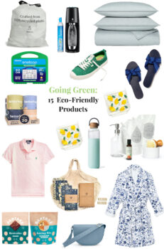 Collage of 15 eco-friendly products to use in your efforts going green