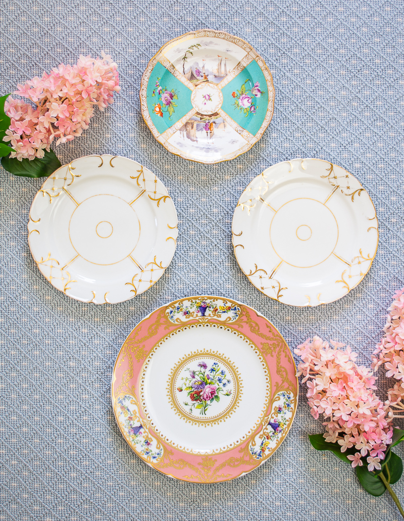 Group of porcelain plates including Meissen, Old Paris, and reproduction Sevres