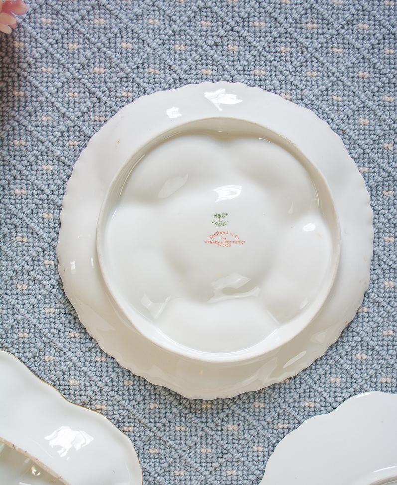 Back marks on Haviland Limoges oyster plate showing retailer mark too