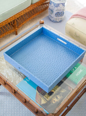 Square blue faux ostrich tray