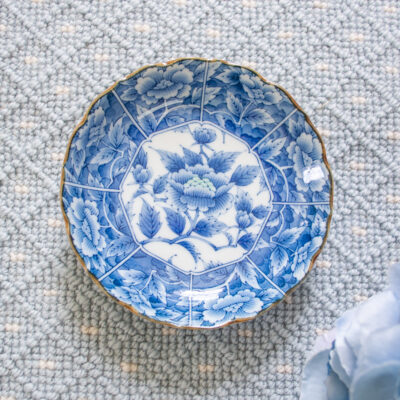 Blue and white floral butter pat dish