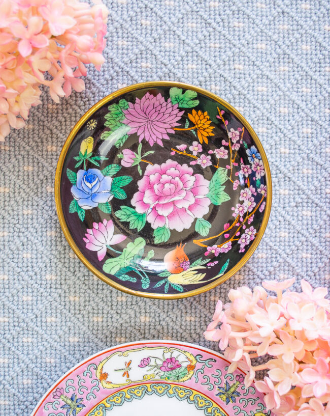Famille Noire peony enamel bowl with brass overlay