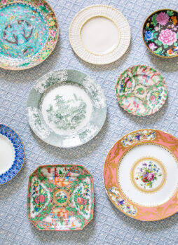 Collector's Notes series - the basics of antique plates, dishes, china - flat lay of antique plates