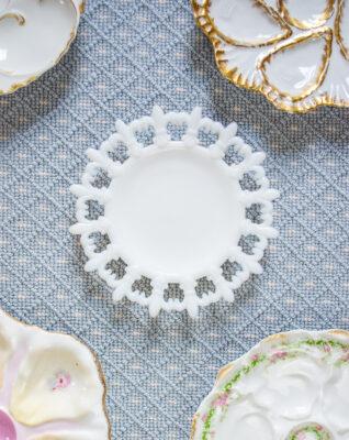 Fleur de lis milk glass dish