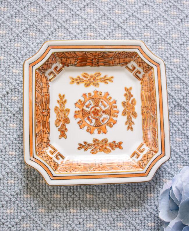 Andrea by Sadek orange square dish - Chinoiserie design