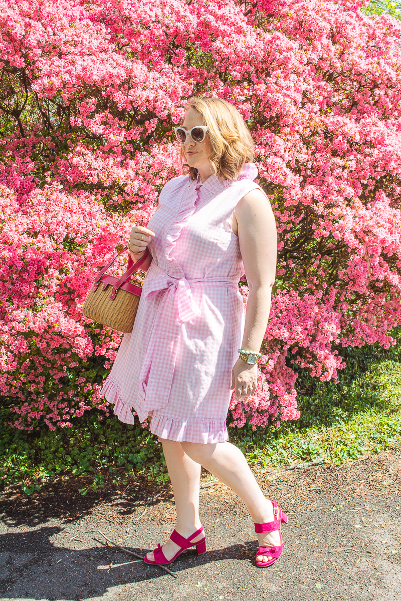 Katherine in pink gingham ruffle dress from Elizabeth Wilson Designs