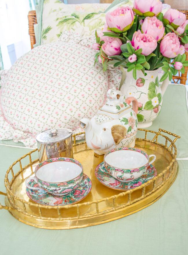 Rose Medallion tea cups