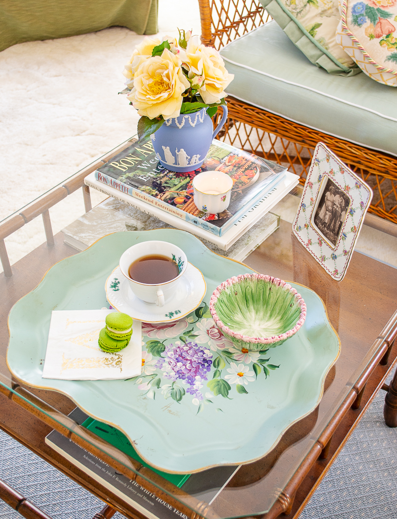 Trays are perfecto for coffee table decor -- they hold remotes and books or help serve drinks and snacks