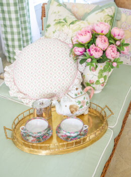 Vintage gifts for mom, including brass tray, tea set, pitcher with pink peonies