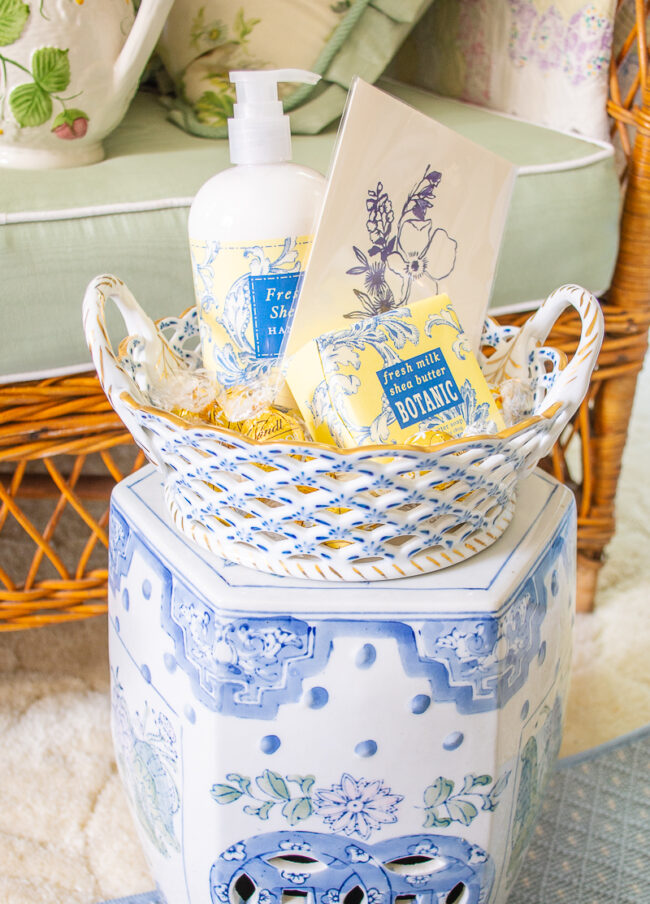 Fill a gorgeous vintage bowl or basket with mom's favorite skin care products for a special Mother's Day gift