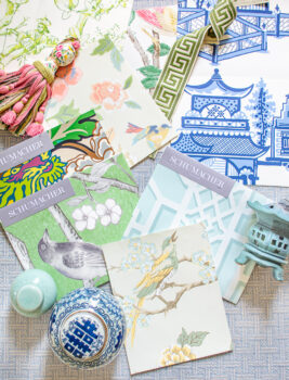 Collage of Chinoiserie wallpapers - samples from Schumacher, York, and Sanderson