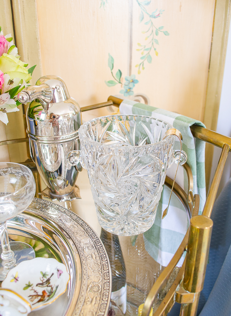 Waterford crystal ice bucket is an elegant touch for your bar cart decor
