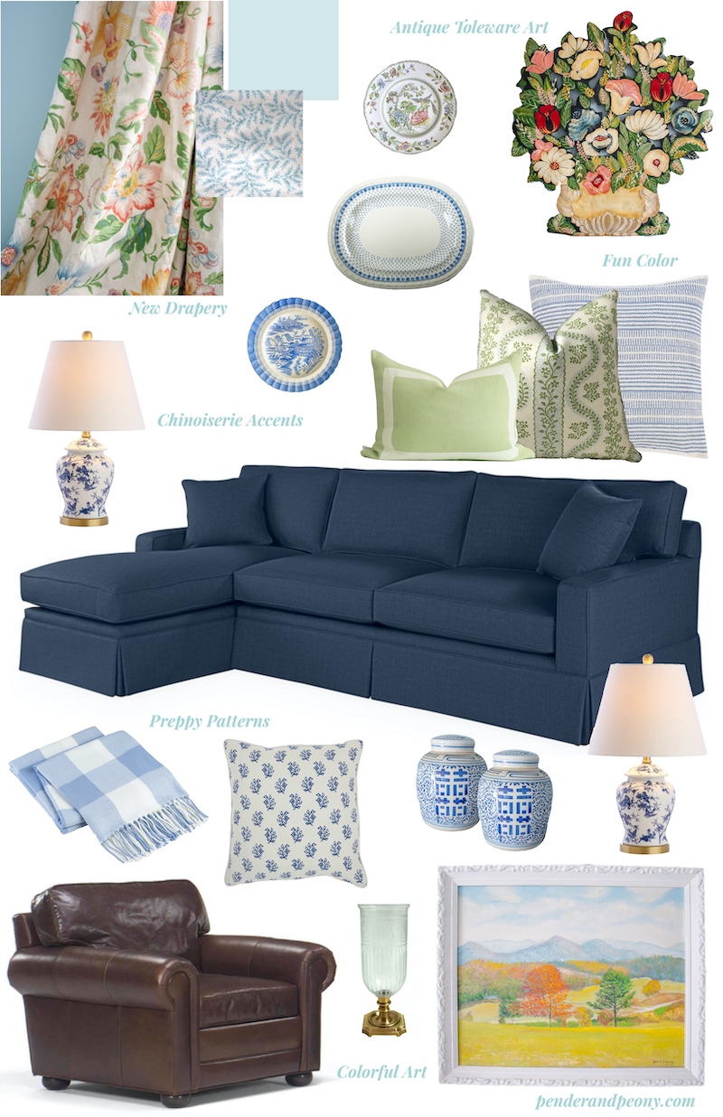 Family room refresh mood board for planning