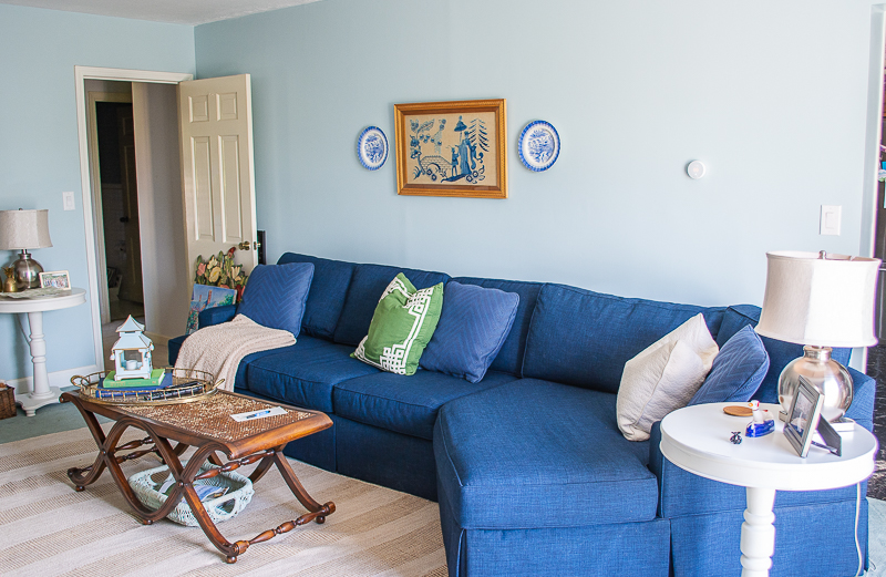 Navy sectional sofa in Katherine's family room
